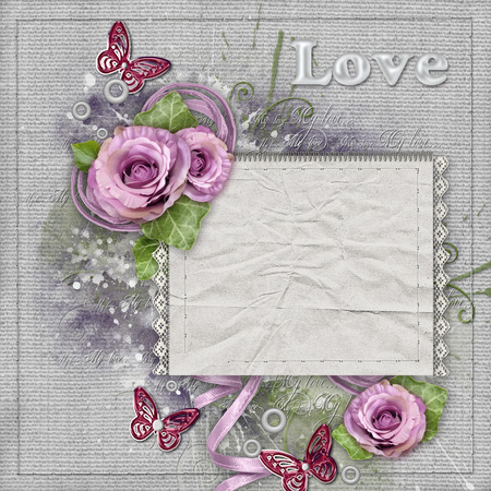 the spouse: Vintage background with purple  roses, lace, ribbon, butterfly, paper card Stock Photo