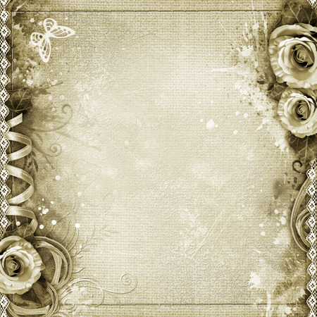 mammy: Vintage background with  roses, lace, ribbon, butterfly, text love