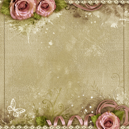 shabby: Vintage background with purple roses, lace, ribbon, butterfly