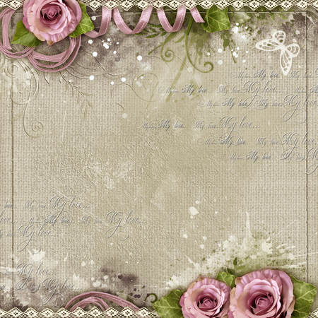 mammy: Vintage background with purple roses, lace, ribbon, butterfly, text love