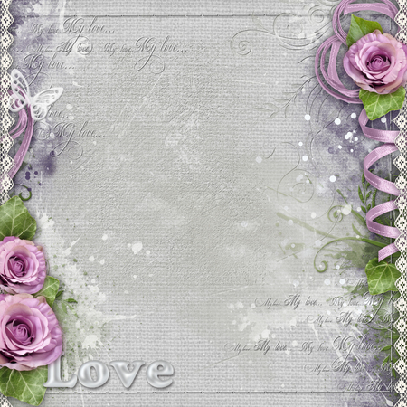 the spouse: Vintage background with purple roses, lace, ribbon Stock Photo