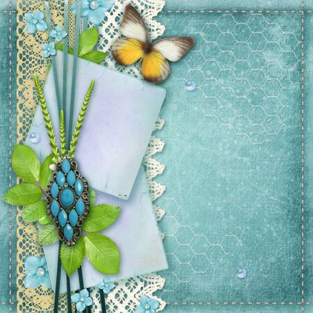 Blue vintage background for album cover or page