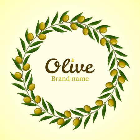 Grüne Olivenzweige Kranz. Vektor Standard-Bild - 40908311