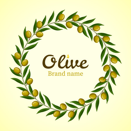 green olive: Green olive branches wreath. Vector
