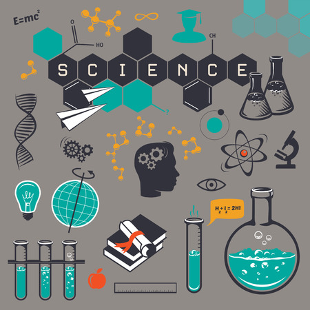 Science icons set, on a gry backgraund. Vector illustration