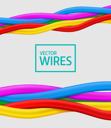cabling: Seamless vector. Abstract colorful curly wires