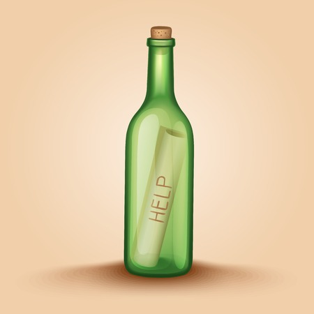 castaway: Realistic Bottle with a letter help. Vector illustration