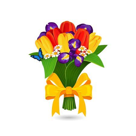 jaune rouge: Vector bouquet de tulipe jaune rouge et iris bleus Illustration