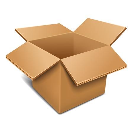boite carton: Boîte de carton ouverte vide Illustration