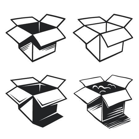 simbol: Set di icone scatola. Vector illustrtion Vettoriali