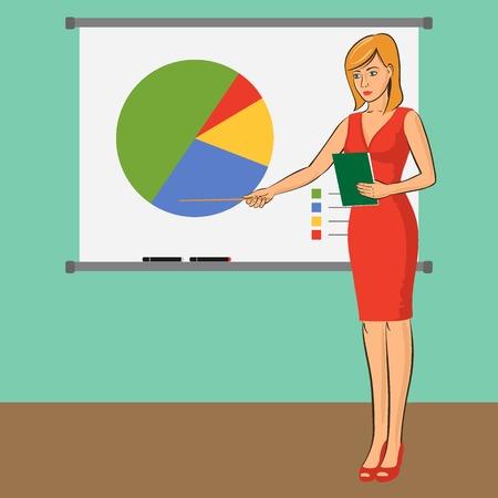 presenter: Businesswoman teacher is presenting training