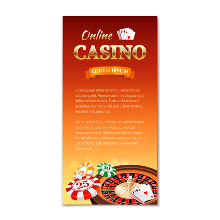 games of chance: Casino background. Vertical banner flyer brochure on a casino theme with roulette wheel game cards and chips. Vector illustration