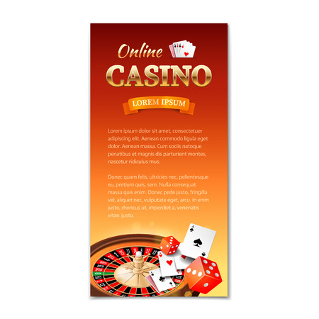 las vegas casino: Casino background. Vertical banner flyer brochure on a casino theme with roulette wheel game cards and dice. Vector illustration Illustration