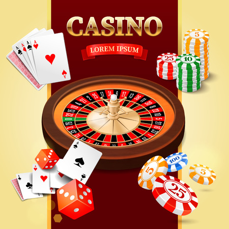 wheel of fortune: Casino background with roulette wheel chips craps and cards. Vector illustration