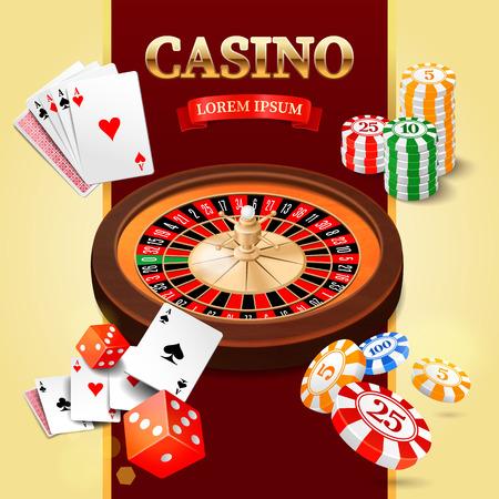 rueda de la fortuna: Fondo del casino con los chips de rueda de la ruleta de dados y cartas. Ilustración vectorial