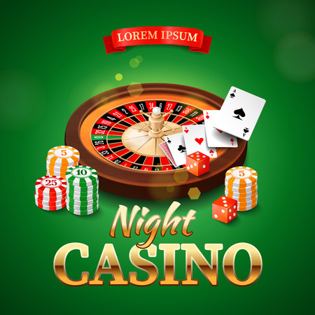 rueda de la fortuna: Fondo del casino con las tarjetas de chips de la rueda de la ruleta y los dados de juego. Ilustración vectorial Vectores