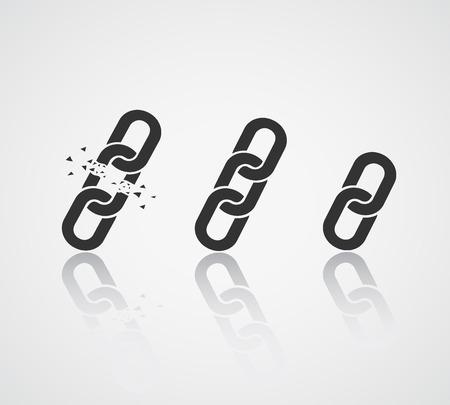 cadenas: Icono Chain Collection. Enlace Símbolo Vectores
