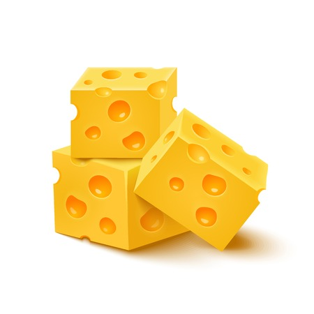 swiss cheese: Cubes of yellow cheese on white background. Vector illustration