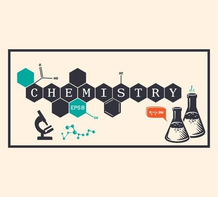 química: Fondo Química, inscripción chemie. Ilustración vectorial