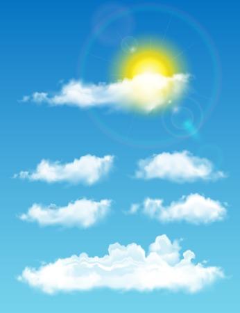 투명 현실적인 구름. 태양과 구름과 풀 타임 하늘 일러스트