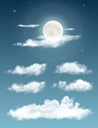 cumulus: Transparent realistic clouds. Night sky with moon and clouds Illustration