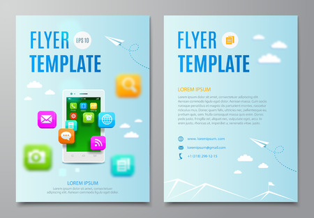 application icons: Design layout flyer.White smartphone with cloud of icons mobile application