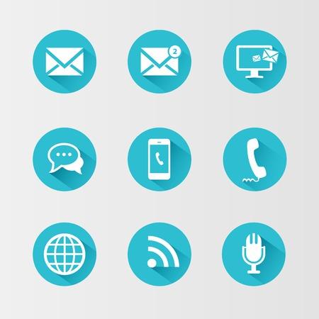 interaccion social: Iconos de la comunicación en un círculo azul y con una larga sombra
