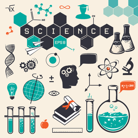 science background: Science icons set