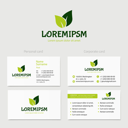 Abstract vector green leaves, icon concept isolated with business card template. Key ideas is health, beauty, medicine, nature, spa. Good for corporate identity and branding