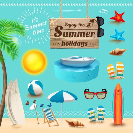 diversion: Conjunto de iconos y objetos de verano realistas. Ilustración vectorial
