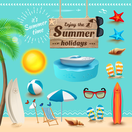 Set of realistic summer icons and objects. Vector illustration Çizim