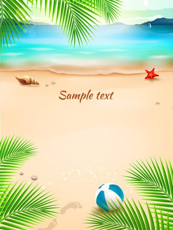 Summer beach background, seascape, sand, wave. Vector Illustration