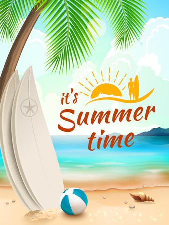 sea shells on beach: Summer Time background - surfboard on a against a beach and waves. Vector illustration