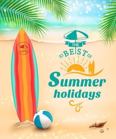 surfboard: Summer holidays background - surfboard on against beach and waves. Vector illustration