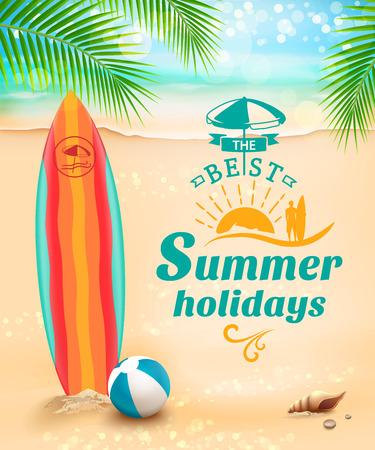Estate vacanze sfondo - tavola da surf sulla spiaggia e le onde contro. illustrazione di vettore