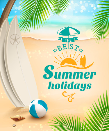 coast: Summer holidays background - surfboard on against beach and waves. Vector illustration