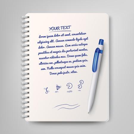 Spiraal notebook en witte balpen Vector Illustratie