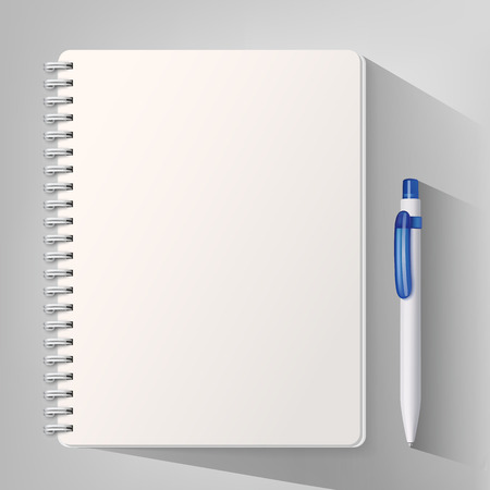 Notebook with a pen. Vector illustration Çizim