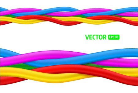 over voltage: Abstract colorful curly wires. Seamless vector Illustration