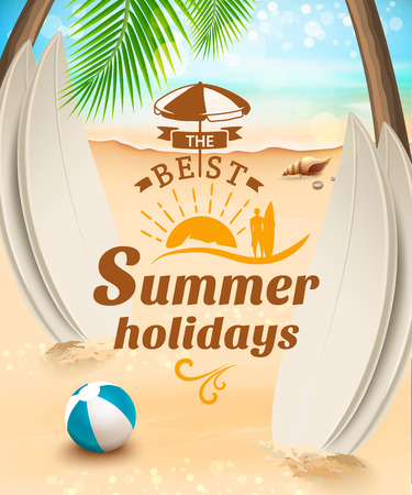 starfish on beach: Summer holidays background - surfboard on against beach and waves. Vector illustration