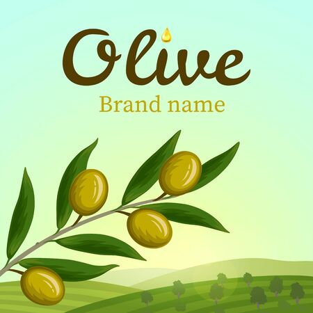 olive tree isolated: Olive label, logo design. Olive branch. Vector illustration