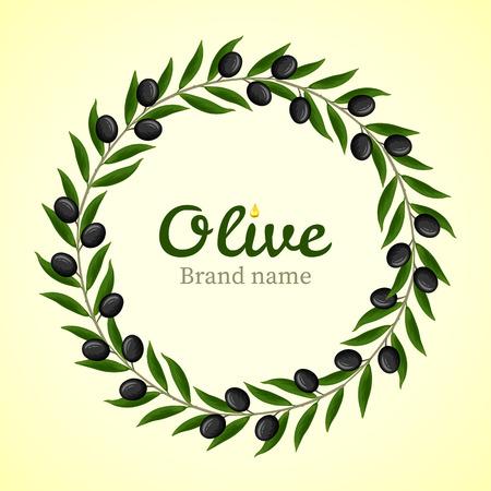 black olive: Black olive branches wreath. Vector
