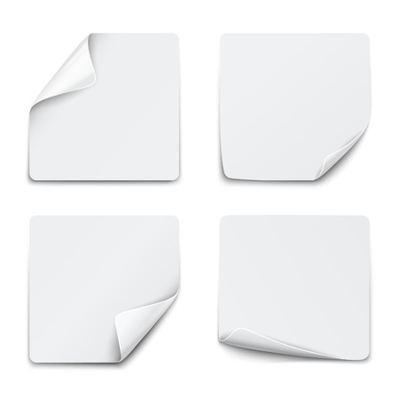 peeling corner: Set of white square paper stickers on white background. Vector illustration
