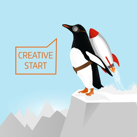 cartoon penguin: Creative start. Penguin begins to take off with the help of Rocket
