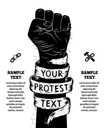 puÑos: Aumentó el puño celebrada en protesta. Ilustración vectorial
