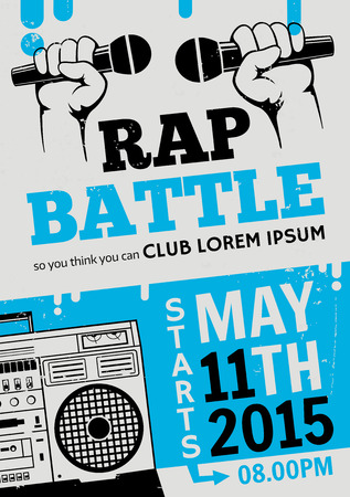 hiphop: Rap battle, concert hip-hop music. Vector template design, flyer, poster, brochure, cover book, page