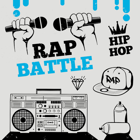 hiphop: Rap battle, hip-hop, breakdance music icons, elements. Isolated vector illustration Illustration
