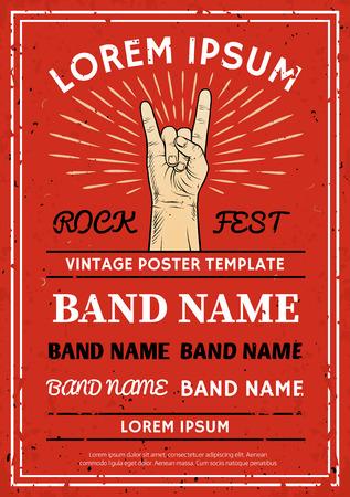 Vintage poster du festival de Rock, dépliant avec Rock and Roll signe de la main
