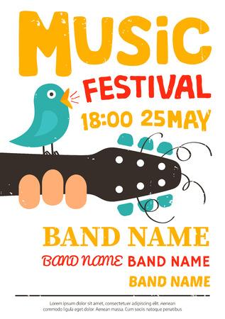 Festival de música cartel, folleto con el canto de un pájaro en una guitarra Ilustración de vector