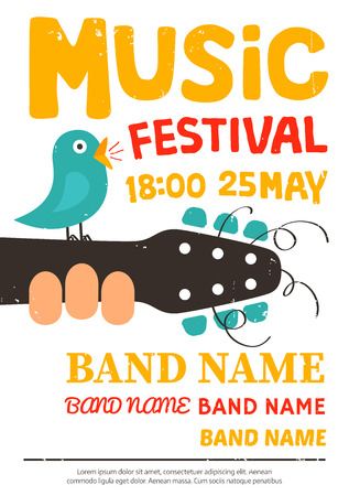live music: Music festival poster, flyer with a bird singing on a guitar Illustration